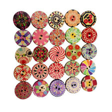 100Pcs 20mm Decorative Wooden Buttons Mixed Wooden Assorted Buttons