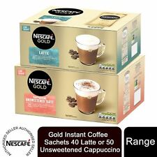 Nescafe Gold Instant Coffee Sachets 40 Latte or 50 Unsweetened Cappuccino