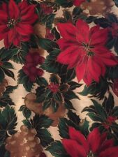 Christmas/Holiday Fabric~Vermont Lodge By Hofmann-Poinsettias & Holly~Per Yard