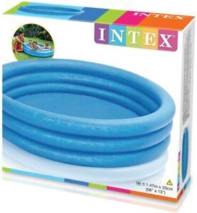 Intex Piscine pour Enfants Pataugeoire 3-Ring-Pool Crystal Bleu,Bleu Ø 147x33 CM