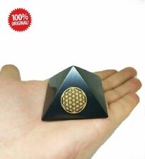 """Shungite Schungit Polished Pyramid """"Flower of Life"""" 50mm crystal minerals"""