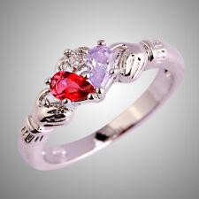Claddagh Tourmaline & Ruby Spinel Gemstone Silver Jewelry Ring Sz L N P R T V Y