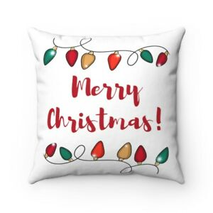 Merry Christmas Throw Pillow CASES White, Red & Green Christmas Lights 4 Sizes