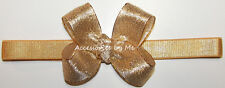 Gold Bow Headband Sparkly Metallic Newborn Baby Infant Chritmas Party Hair Band