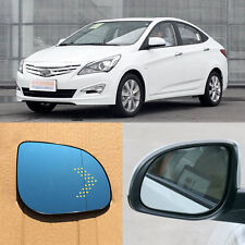 Rearview Mirror Blue Glasses LED Turn Signal with Heating For Hyundai Verna