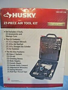 NEW HUSKY 27 PC AIR TOOL KIT 1003 097 318 IMPACT WRENCH RATCHET DIE GRINDER HAMM