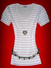 Madonna Camicia Rockabilly STRISCE ROSA-BIANCO ROMANTICO BOHO M L 38 40 merce nuova!!! TOP