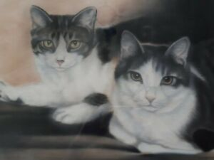 JOYCE BETTS CANADIAN ARTIST ART CAT KITTEN PASTEL PAINTING W GLASS.WOOD FRAME