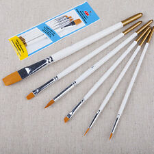 6pcs Artist Paint Brush Small Large Acrylic Oil Water Colour Thin Thick Fine Set