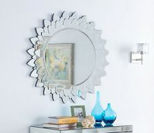 Large Glass Wall Mirror Modern Round Sunflower Inspired Design 3ft (90cm)