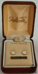 14K Yellow Gold & Opal Round Push Back Earrings w/Box