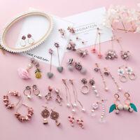 Fashion Women Korean Cute Pink Fabric Flower Earrings Long Tassel Pearl Earring
