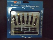 NEW CALLIGRAPHY FOUNTAIN PEN SET 22 CARAT PLATED NIBS INK CARTRIDGES CONVERTOR