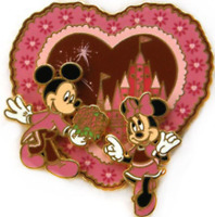 Disney Pin 59235 Valentine's Day Mickey Minnie sweetheart flowers Pink Tuxedo #