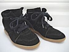 ISABEL MARANT Bobby black suede hidden wedge sneakers shoes size 39