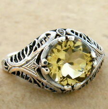 GENUINE CITRINE ANTIQUE DESIGN 925 STERLING SILVER RING SIZE 5,             #689