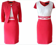 CORAL IVORY MOTHER OF THE BRIDE GROOM OUTFIT FORMAL 2 PIECE JACKET DRESS SIZE 20