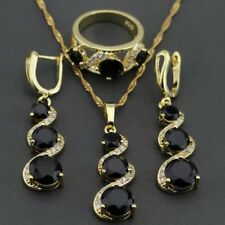 Gold Filled Black Sapphire & weißen Topas Halskette Ohrringe & Ring SZ p/8 Set