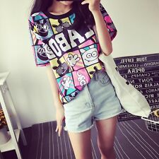 Women blouses Fashion Female T-shirt Korean Sweet Cartoon Ladies Short Clothes