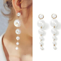 Fashion Women Big Simulated Pearl Long Tassel Statement Elegant Dangle Earring