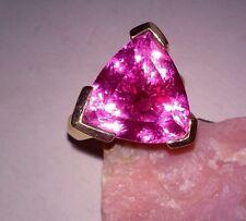 Trilliant & Baguette Sim. Hot Pink / Fuschia Sapphire REAL 925 SS Vermeil Ring