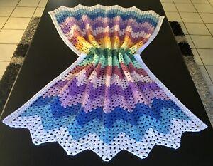 A Handmade Crochet Baby Bassinet Car Cot Floor Pram Blanket 118Lx84W Shower Gift