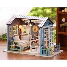 DIY Wooden Dollhouse Miniature Kit w/ LED Light& Music Box&Dust Cover