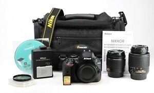Nikon D3400 DSLR Camera Dual Lens Kit Nikon AF-P 18-55mm VR & AF-S 55-200mm  EXC