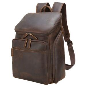 "Men Full Grain Leather 16"" Laptop Backpack Daypack Travel Bag Satchel School Bag"