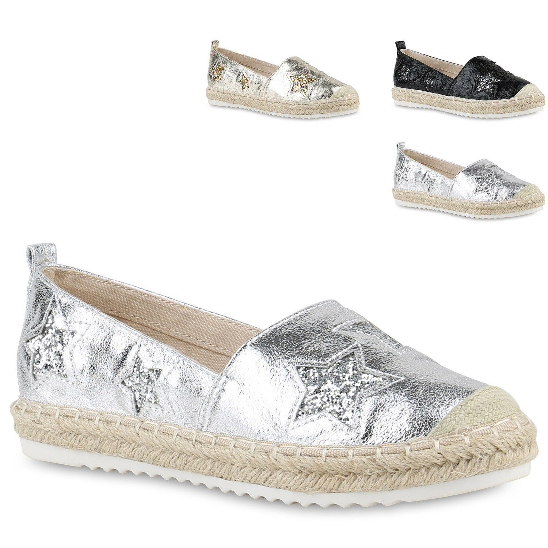 Damen Espadrilles Glitzer Metallic Slipper Freizeit 817377  zapatos  Bast 817377 Freizeit Trendy 1140dc