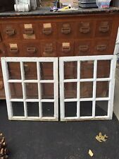 "PAIR c1920 ANTIQUE nine pane windows SALVAGed from victorian 27 x 22"" ~ 7.75 X 6"