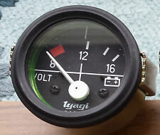 "Vintage car 2"" 52MM DIAL GAUGE CAR UNIVERSAL 8-16 VOLTMETER CLOCK 12V-613 black"