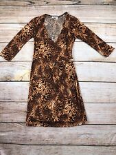 Womens Oh!Mamma cheetah wrap maternity dress 3/4 sleeve S small oh Mama