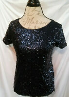 New WHITE HOUSE BLACK MARKET Top XS Short Sleeve Sequin Knit Boxy Top Size XS