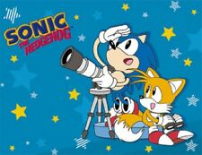 New Sonic the Hedgehog and Tails Fleece Throw Gift Blanket Sega Video Game SOFT