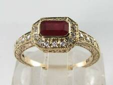 DIVINE 9K 9CT GOLD INDIAN RUBY DIAMOND ART DECO INS RING FREE RESIZE