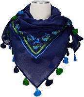 Trachtentuch Dunkelblau 100% Wolle wool scarf Stickerei Gämse Eichenlaub Quasten