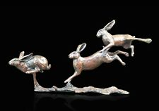 Small Hares Running Solid Bronze Foundry Cast Sculpture by Michael Simpson [801]
