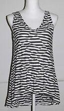 PAPILLON BLANC Rayon Poly Gray White Striped Textured A line top Women's Medium