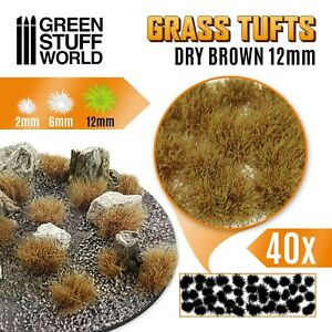 Grass TUFTS 12mm Self-Adhesive DRY BROWN - Scenery Miniature Warhammer