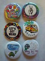 "1.5"" Groovy, Hippy Set  6-pk Novelty Buttons/Pins: For backpacks, Jackets & More"