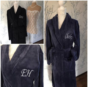 Luxury Embroidered soft touch Dressing gown robe ANY NAME OR INITIALS