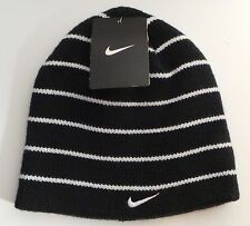 NEW Nike Boys Girls Size 8/20 Youth Beanie Winter Hat Black & Neon White Striped