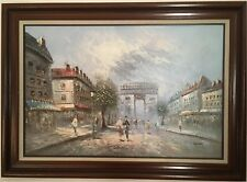 Caroline Burnett Paris Scene Arc de Triomphe Oil Painting On Canvas Framed
