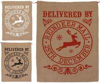 Large Vintage Hessian Christmas Sack Santa Sack Stocking Jute Gift Bag Reindeer
