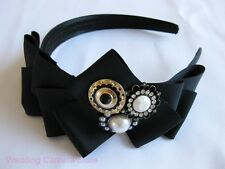 Hollywood Style Headband with Multi Layer Bow & Crystal