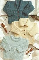 "Baby Knitting Patterns Cardigans Sweater 12-24"" Prem sizes DK Boys Girls 549"