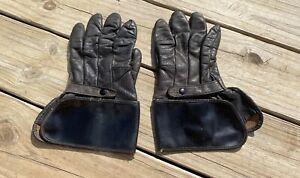 Vintage Harley Davidson Leather Gauntlet Gloves Size 11 Black Motorcycle Gloves