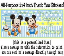 10 Baby Mickey Mouse Birthday Party Baby Shower 2x4 Treat Bag Thank You Stickers