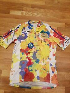 Louis Garneau Cycling Bike 2019 Jersey Bright Multicolor Sz Med full zipper; EUC